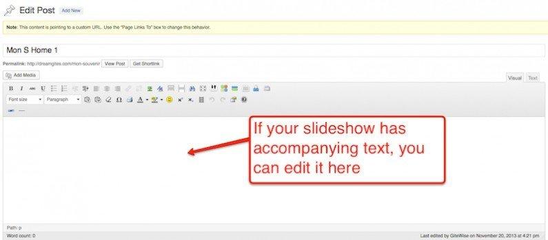 Slideshow-edit text
