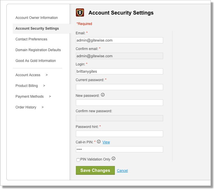 Account Security Settings