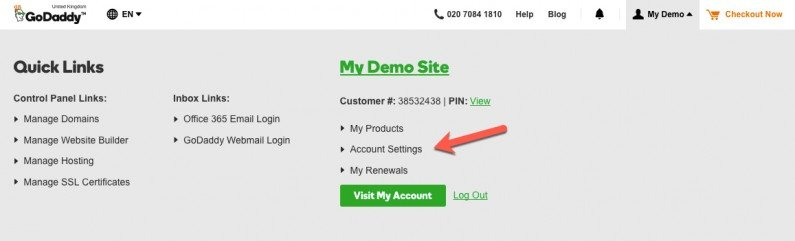 GoDaddy Account settings menu panel