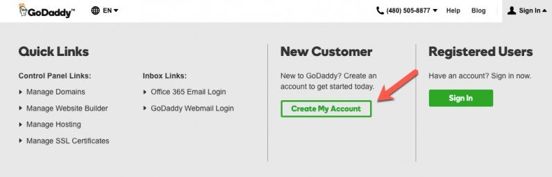GoDaddy Create New Account
