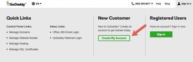 GoDaddy Create New Account