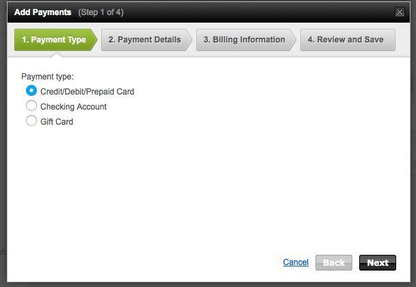 add payment panel