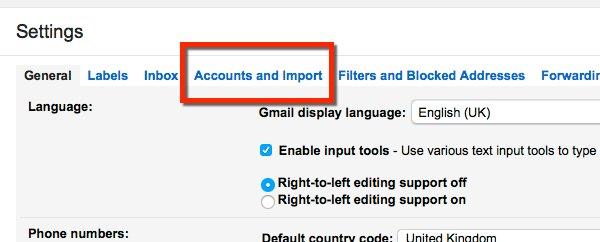Gmail setup accounts tab